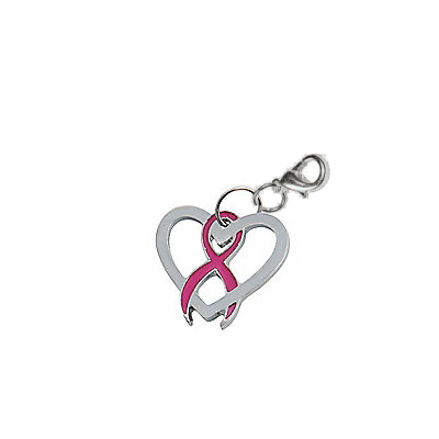 Pink Ribbon Heart Charm