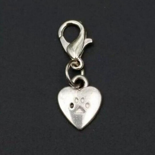 Large Paw Print on Heart Charm /
